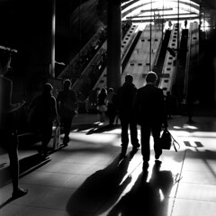 In the station of shadows (ted.kozak) Tags: light bw london 120 6x6 film lines station contrast mediumformat shadows rodinal canarywharf yashicamat124g selfdeveloped kozak adoxchs100 yashinon80mmf35 tedkozak