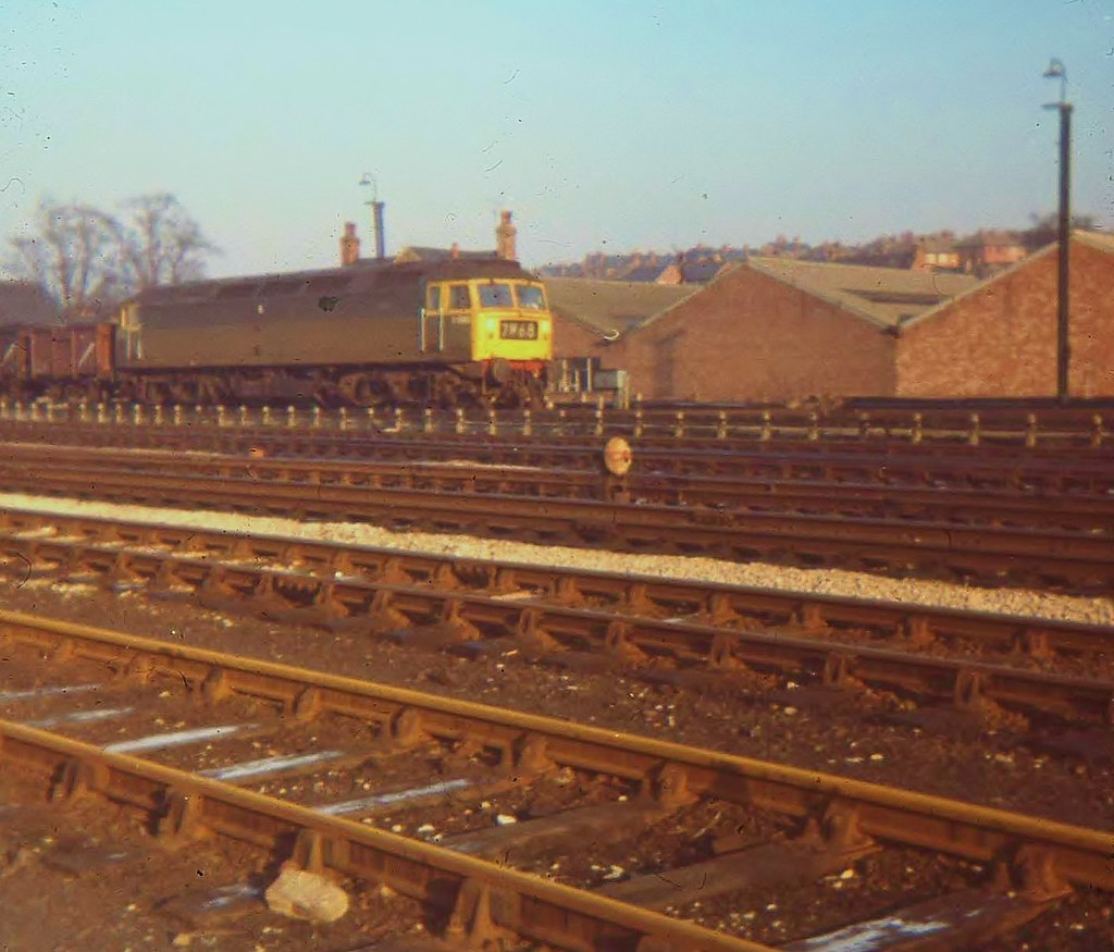More Two-Tone Green - An Unidentified Class 47 On Coal Freight At Toton - January 1970
