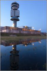 Ct reflex (DavideITA) Tags: tower water canon reflex airport nightshot control aircraft tokina bluehour acqua riflessi spotting 1224 mxp malpensa orablu