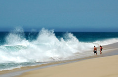 Human vs Nature (Serge Freeman) Tags: ocean sea beach nature mexico waves horizon human moment cabosanlucas