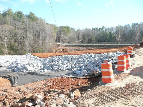 Whitewater Lake's severely eroded auxiliary spillway was reconstructed and armored with large rock.