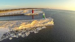 2014-03-29_South_Haven_Lighthouse_Ice_006 (Paladin27) Tags: sunset lighthouse ice pier michigan lakemichigan iceberg southhaven southhavenlighthouse