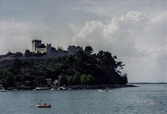 Castle by the Lake (Gravitational Lensing) Tags: italia italy film analog analogue castle castiglione trasimeno