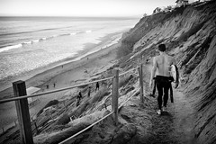 Down (GavinZ) Tags: california sandiego usa cellphone encinitas unitedstates us blackandwhite bw monochrome path down beach surfer shore ocean walk explore