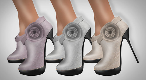 Duh! Silk Floral Booties Rose Silver Sand