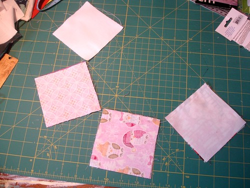 Altered Four Square Quilt Block Tutorial: Initial Sewing of Both Pairs