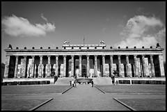 (Georgios Karamanis) Tags: park old sky people bw white black building berlin museum architecture clouds germany statues pillars altes karamanis