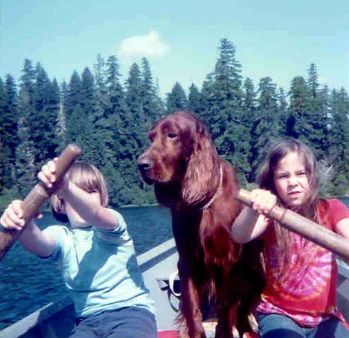 Best Kids Ever and Best Dog Ever on Vacation at Clear Lake, Oregon in the Eighties