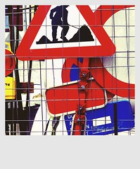 Artist At Work   ***** (Vancayzeele Olivier) Tags: red brussels streetart sign logo rouge belgium belgique bruxelles menatwork signalisation camerabag travaux chantier pictogramme vancayzeele mygearandme