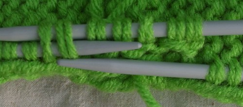 Green size 8 needles doubled WW RHSS Body top 6 st to base of end working 6th st tog with 1 fr side