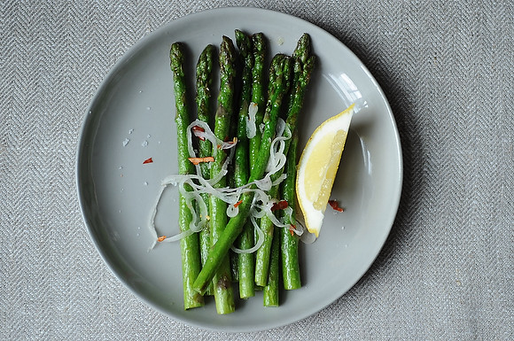 Asparagus with Shallots, Chiles, and Lemon