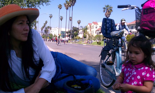 Resting in the shade during April 10, 2011 CicLAvia