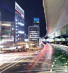 Shibuya (spiraldelight) Tags: tokyo traffic pano shibuya shift  lighttrails  traffictrails lightstream eos5dmkii tse17mmf4l