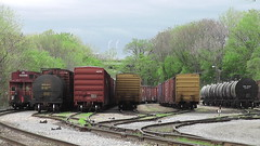 SPRING IN THE YARD (BLACK VOMIT) Tags: railroad car yard train virginia spring box norfolk tracks rail rr richmond caboose southern va rails boxcar freight boxcars springtime tankers
