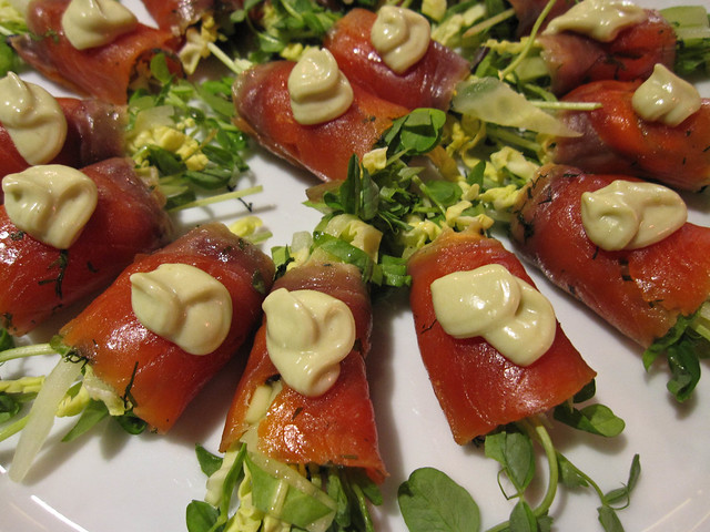 Gravalax with alfalfa sprouts and wasabi mayo