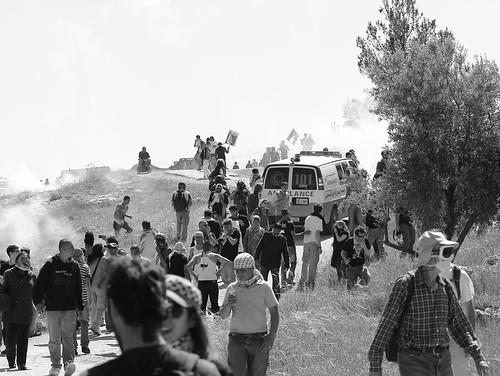 ambulance under gas attack (b&w)