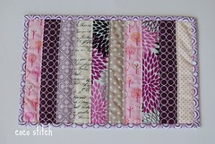 mini quilt - purple/pink (coco stitch) Tags: pink white purple quilt small mini coaster tablerunner vasemat mugrug