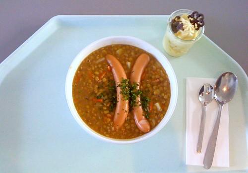 Linseneintopf mit Würstel / Lentil stew with sausage