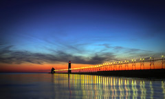 Darkness Falls Over Lake Michigan (Robby Ryke) Tags: sunset usa lake colors canon stars long exposure heaven michigan