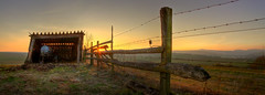 behind the fence (T K Hummel) Tags: panorama natur hütte felder hdr landschaften zäune
