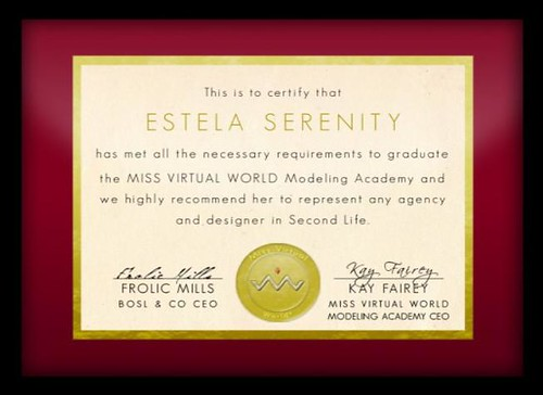Miss Virtual World Cerificate by Estela Serenity