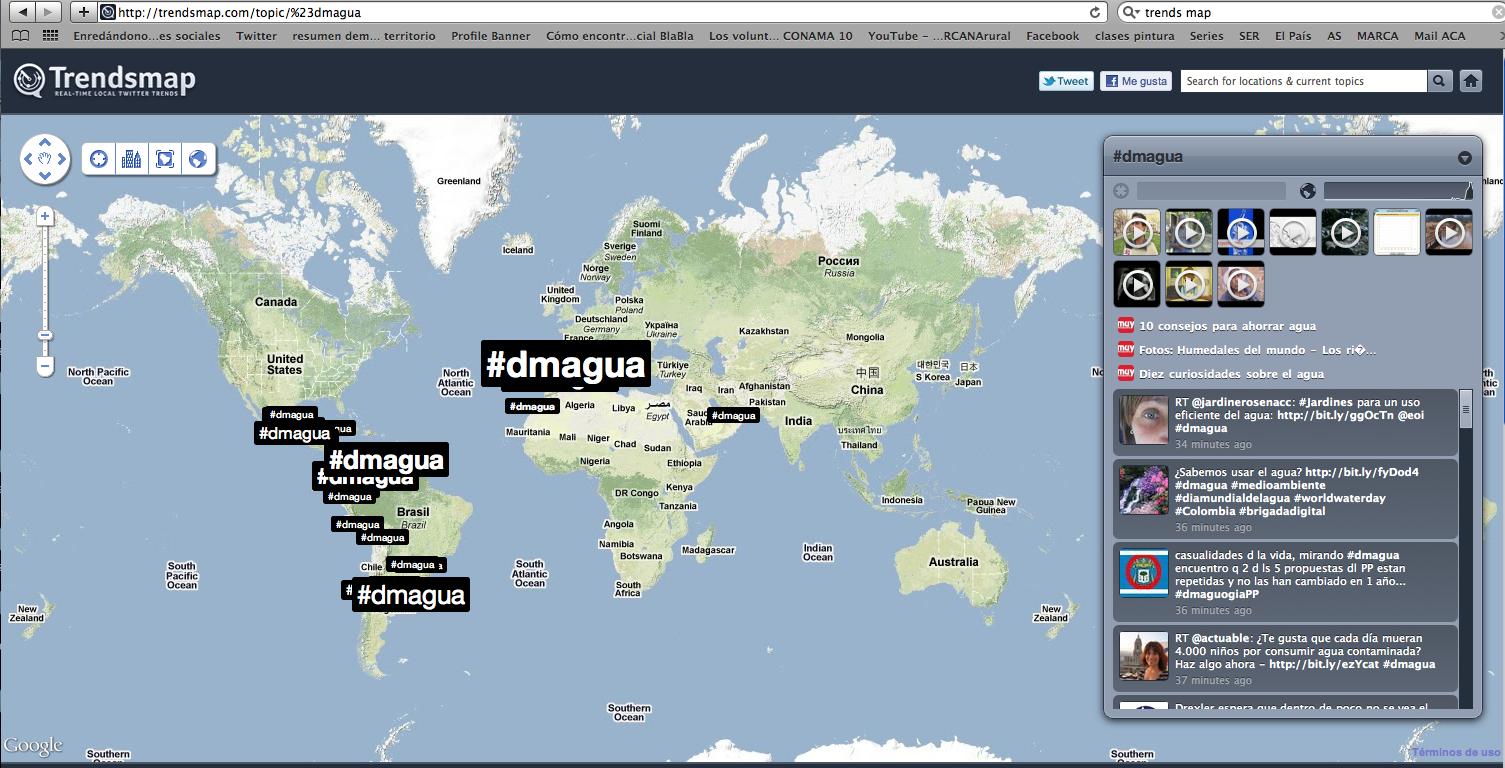 Mapamundi con la repercusión de #dmagua