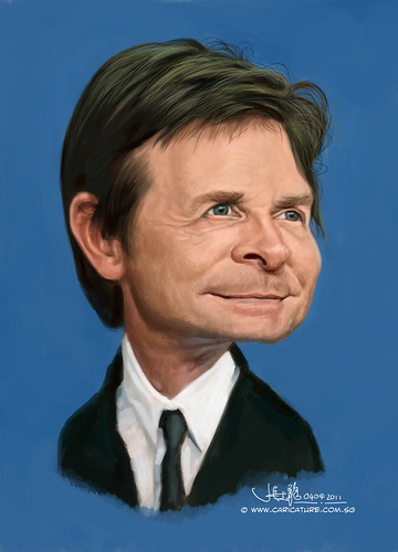 digital caricature of Michael J Fox