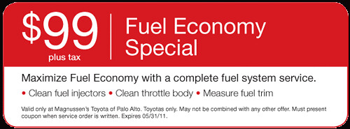 $99.95 Fuel Economy Special Cleaning Fuel Injection System  | Bay Area Toyota Dealer serving San Jose, Palo Alto, Fremont