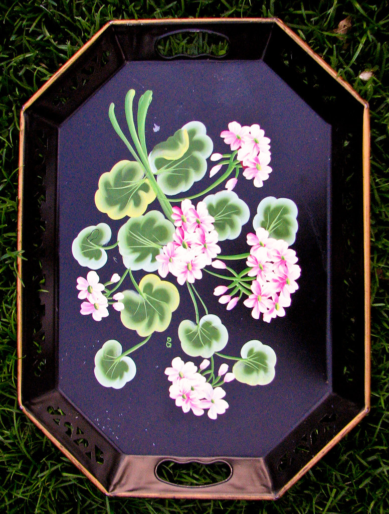 Vintage Tole Tray with Hand Painted Black Flower Design 3