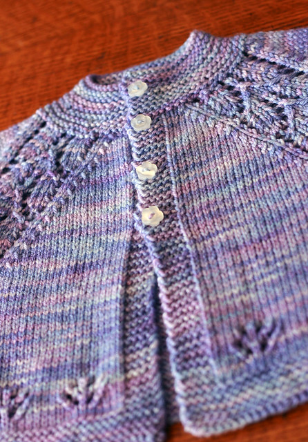 Maile baby sweater with pretty flower buttons