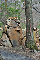 Guilford's other Moai (Bob Gundersen) Tags: usa cars strange rock stone landscape outside town photo interesting nikon flickr image shots outdoor hiking connecticut shoreline picture newengland ct places huge stonewall unusual scenes gundersen guilford conn nikoncamera westwoods d5000 westwoodstrails connecticutscenes nikond5000 bobgundersen robertgundersen