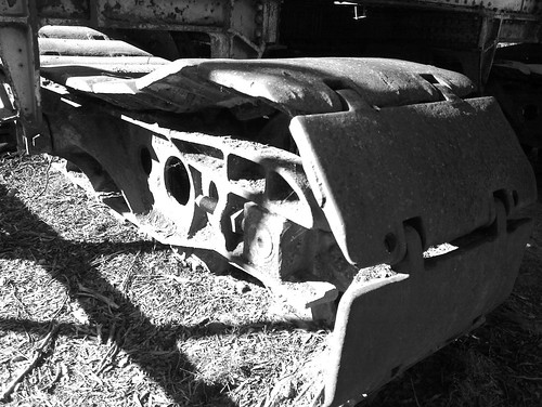 Caterpillar tracks on old crane at Porcupine Township, Maldon