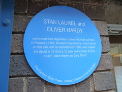 Photo of Stan Laurel, Oliver Hardy, and Cary Grant blue plaque