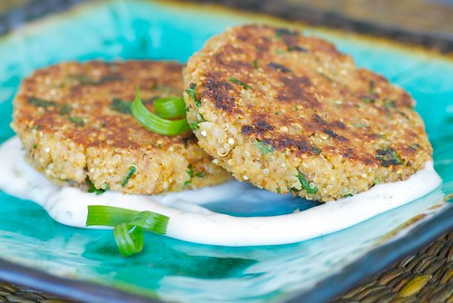quinoa cakes with smoked trout and lime mayonnaise