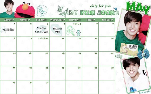 Kim Hyun Joong May 2011 Calendar