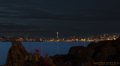 Seattle from across the glowing sound (Yathrth) Tags: seattle blue light usa west beach water skyline night canon landscape harbor landscapes us glow cityscape pacific space united north needle ave pollution sound alki wa spaceneedle states pnw puget nightspace yatharth yatharthguptacom
