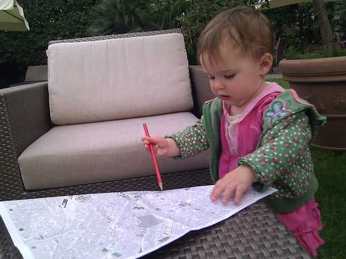 Nora Maps Our Route