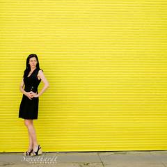 02 :: 31 (sweethardt) Tags: door woman selfportrait black yellow metal spring shoes dress painted garage sidewalk brunette corrugated lbd wedges louboutin