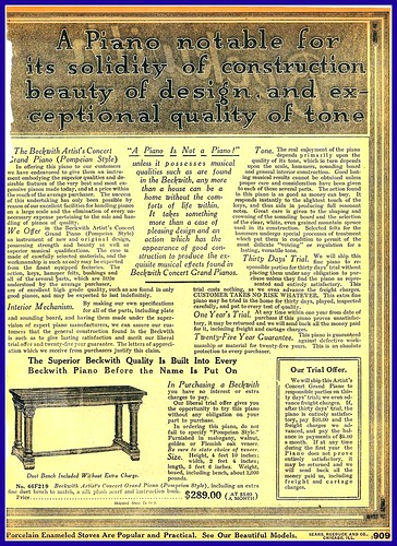 1916 Beckwith Piano Ad, Sears by mcudeque
