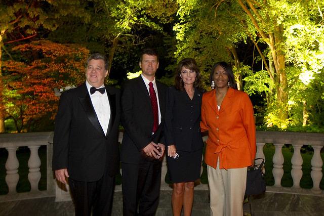 John Coale, Todd Palin, Sarah Palin, and friend