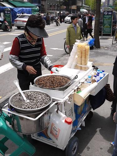 Silk worm larvae snack vendor