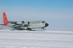 An LC-130 departs WAIS Divide, Antarctica