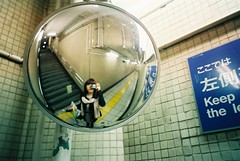 (tae*) Tags: film me rain station japan tokyo mirror fuji metro natura april tae classica 2011  1600film