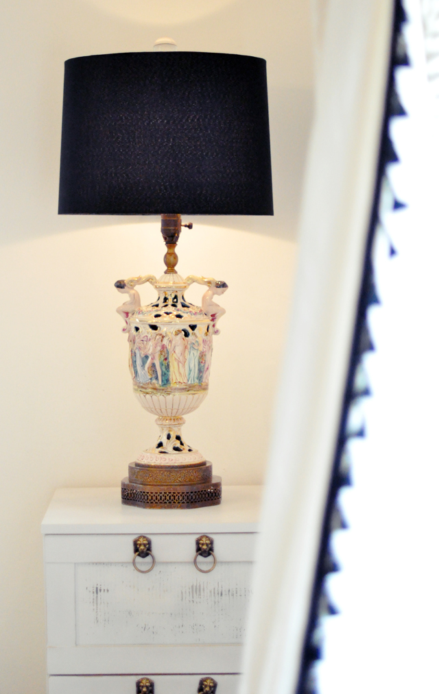 hand painted antique capodimonte lamps, vintage 40's cherub italian lamps +  capodimonte