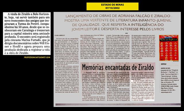 """""""Memórias encantadas de Ziraldo"""" - Estado de Minas - 07/10/2002"""