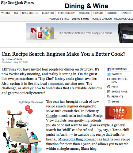 NY Times Recipe Search Engine