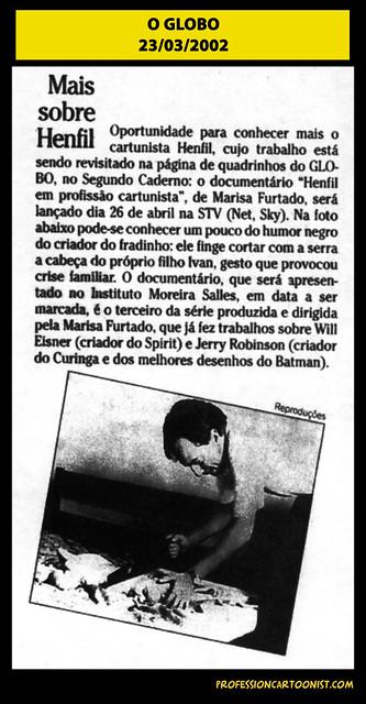 """""""Mais sobre Henfil"""" - O Globo - 23/03/2002"""