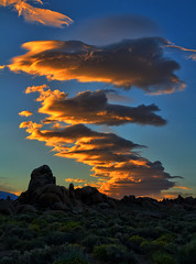 Fiery Sunset over Alabama Hills (Dave Toussaint (www.photographersnature.com)) Tags: sunset cloud lenticular highway395 hwy395 granite rock geology sky skies sierranevada easternsierras sierra eastern lonepine alabamahills southerncalifornia california ca usa explore interesting interestingness nature travel landscape portrait hdr photoengine oloneo adobe photoshop cs2 topazlabs adjust denoise infocus canon 60d photographersnaturecom photo picture photographer 2011 may davetoussaint dailyrayofhope