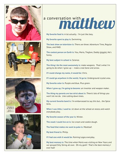 conversation with matthew june 2011