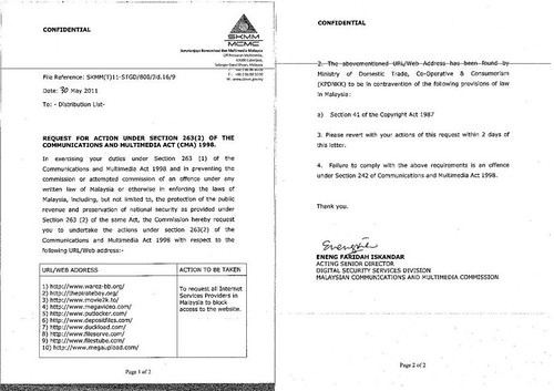 MCMC / SKMM Memo to block file sharing website in Malaysia